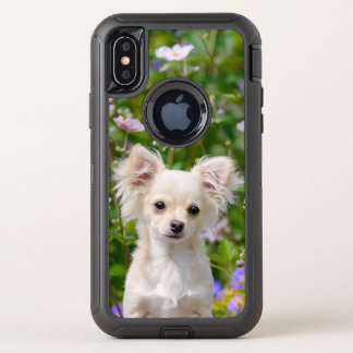 Cute longhair cream Chihuahua Dog Puppy Pet Photo OtterBox Defender iPhone X Case