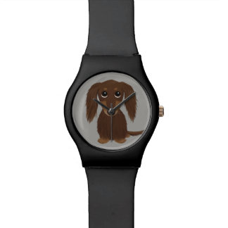 Cute Longhaired Chocolate Brown Dachshund Watch