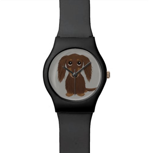 Cute Longhaired Chocolate Brown Dachshund Watch