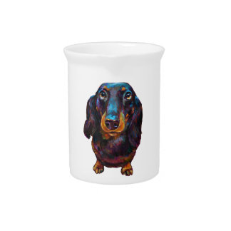 Cute Longhaired Dachshund Beverage Pitcher