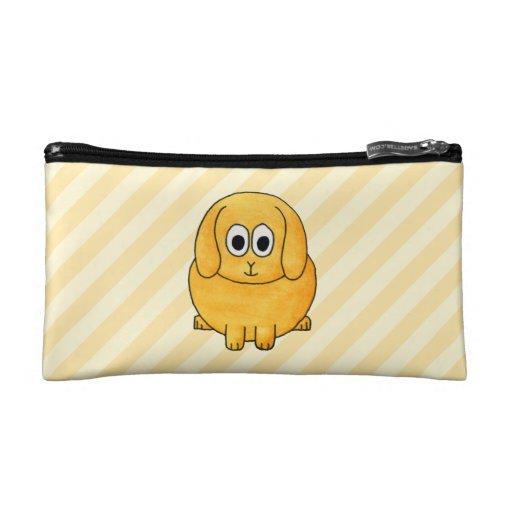 Cute Lop Bunny, with stripe background. Cosmetics Bags