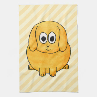 Cute Lop Bunny, with stripe background. Hand Towel