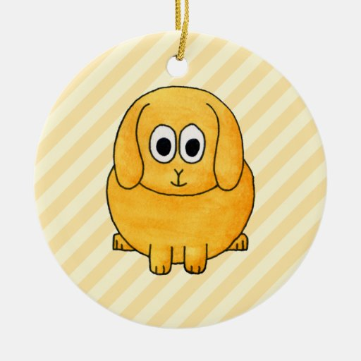 Cute Lop Bunny, with stripe background. Double-Sided Ceramic Round Christmas Ornament