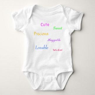Cute, Lovable, Sweet, Huggable, Precious, That'... Baby Bodysuit