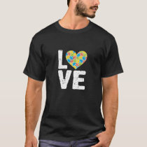 Cute Love Autism Puzzle Heart Awareness T-Shirt