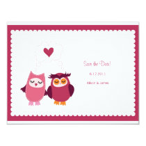 Cute Love Bird Owls Save the Date Annoucement Card