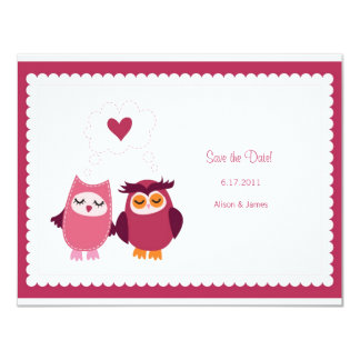 "Cute Love Bird Owls Save the Date Annoucement 4.25"" X 5.5"" Invitation Card"