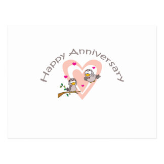"Cute, ""Love Birds"" Anniversary design Postcard"