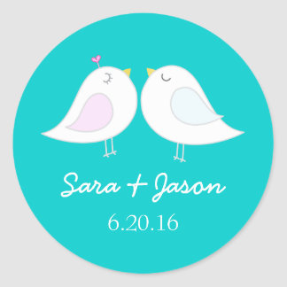 Cute love birds aqua wedding sticker