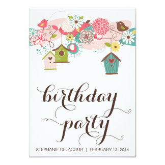 Cute Love Birds & Bird Houses Birthday Invitation