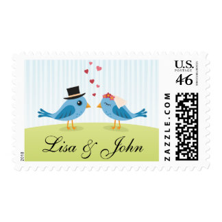 Cute love birds bride and groom postage stamps