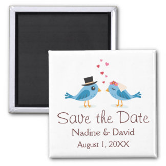 Cute love birds bride and groom save the date 2 inch square magnet