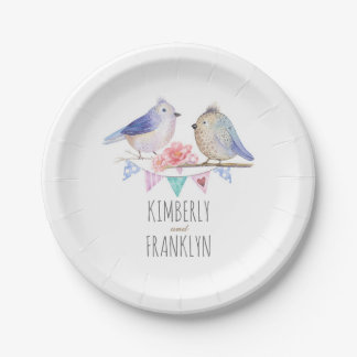 cute love birds couple rustic woodland paper plate