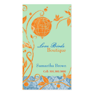 Cute Love Birds Fashion Boutique Business Cards Standard Business Cards