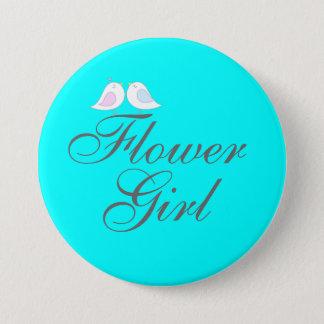 Cute love birds Flower Girl Pinback Button