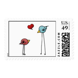 Cute love birds heart cartoon valentine lovers stamp