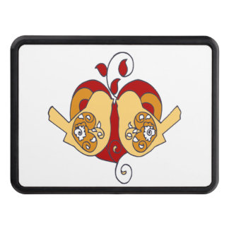 Cute Love Birds & Heart Red Brown design Tow Hitch Cover