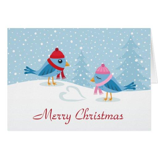 Cute love birds in the snow merry christmas card