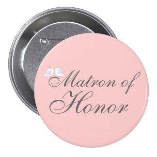 Cute love birds Matron of Honor Pinback Button