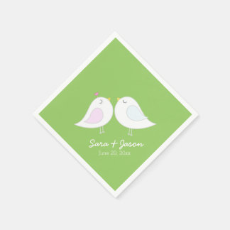 Cute Love Birds on Lime Green Napkin