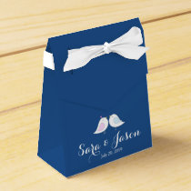 Cute Love Birds on Navy Blue Wedding Favor Box