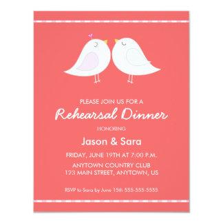 Cute Love Birds on Red Rehearsal Dinner Card