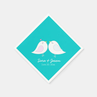 Cute Love Birds on Teal Blue Paper Napkins