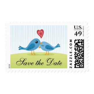 Cute love birds Save the Date postage stamps