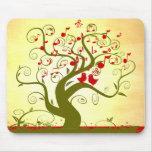 Cute Love Birds Singing Swirl Tree MousePad