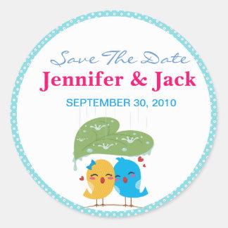 Cute Love Birds the date Sticker