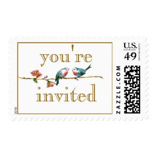 Cute Love Birds Wedding Postage Stamps