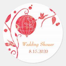 Cute Love Birds Wedding Shower Invitation Stickers