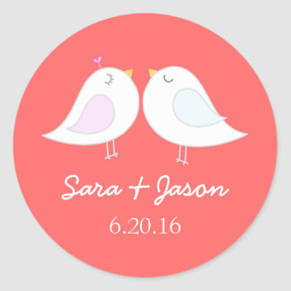 Cute love birds wedding sticker