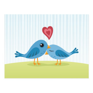 Cute love birds with heart blank postcard