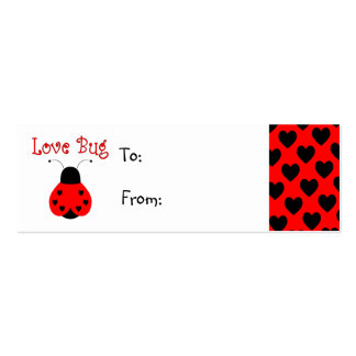 Cute Love Bug Heart Ladybug Gift Tag Business Card Template