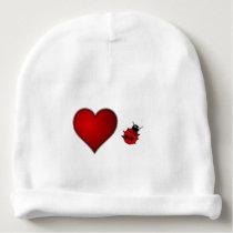 Cute Love Bug Red Heart and Ladybug Baby Beanie
