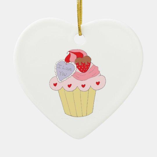 Cute Love Cupcake Ceramic Ornament