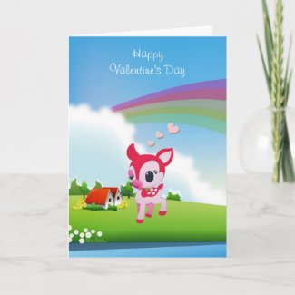 Cute Love Deer Fawn with Rainbow Country Scene Greeting Cards