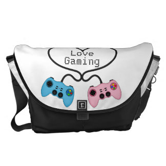 Cute Love Gaming - Pink and Blue Game Controllers Courier Bag