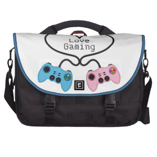 Cute Love Gaming - Pink and Blue Game Controllers Laptop Bags