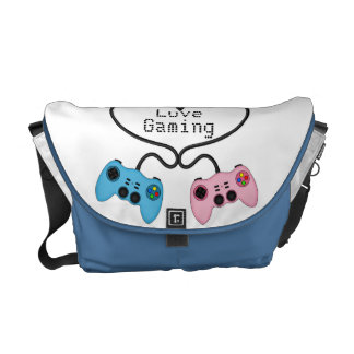 Cute Love Gaming - Pink and Blue Game Controllers Messenger Bags