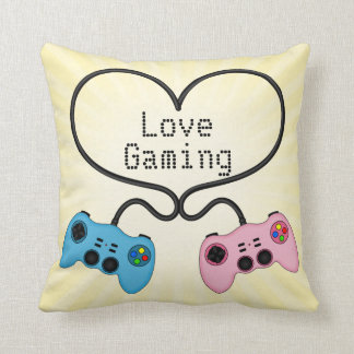 Cute Love Gaming - Pink and Blue Game Controllers Throw Pillows