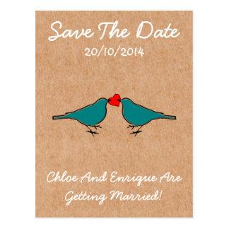 Cute Love Heart And Birdies Custom Save The Date Postcard