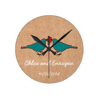 Cute Love Heart And Birdies Custom Wedding Round Wall Clock