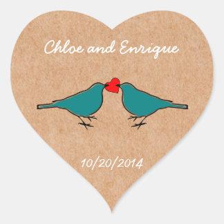 Cute Love Heart And Birdies Custom Wedding Heart Sticker