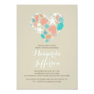cute love heart beach bridal shower invites