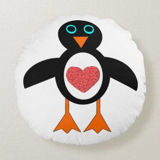 Cute Love Heart Penguin Pillow Round Pillow