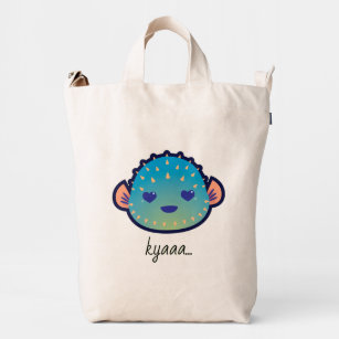 5f4c3d00d1 Cute Love Heart Pufferfish with Editable Text Duck Bag