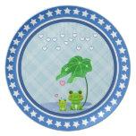 Cute Love Heart Rain & Frogs - Love Just Happens Dinner Plate
