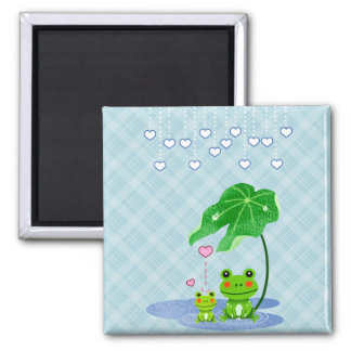 Cute Love Heart Rain & Frogs - Love Just Happens 2 Inch Square Magnet